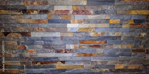 Canvas Print Stripe stone old brick wall seamless Background texture grungy rusty blocks of s