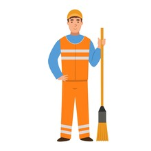 Cartoon Janitor With A Broom, Character For Children. Flat Vector Illustration