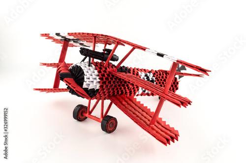 Origami red baron plane Wallpaper Mural