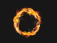 Ring Of Fire Flame On Transparent Background. For Used On Dark Backgrounds. Transparency Only In Vector Format