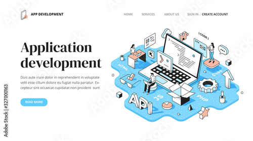 Photo Application Development Isometric Concept
