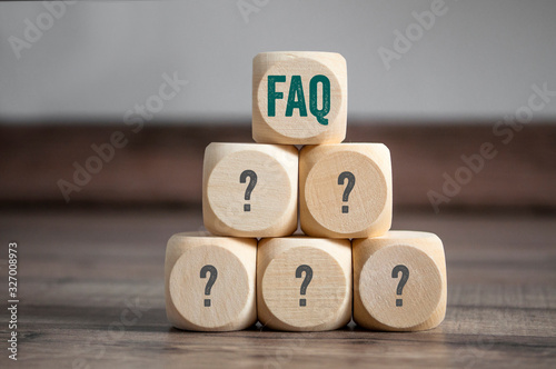 Photo Cubes and dice with acronym faq frequently asked questions