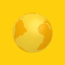 Yellow Earth Globe In Duotone ...