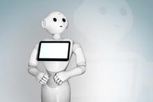 White Robot On A White Backgro...