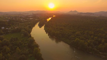 AERIAL: Stunning Wide River Wi...