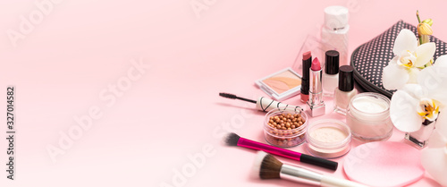 Beauty background with facial cosmetic products. Makeup, skin care concept. - fototapety na wymiar