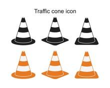 Traffic Cone Icon Symbol Flat Vector Illustration For Graphic And Web Design.