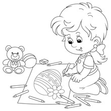 Cute Little Girl Smiling And Drawing A Decorated Easter Egg With Pencils On A Big Sheet Of Paper For A Greeting Card, Black And White Vector Cartoon Illustration For A Coloring Book Page