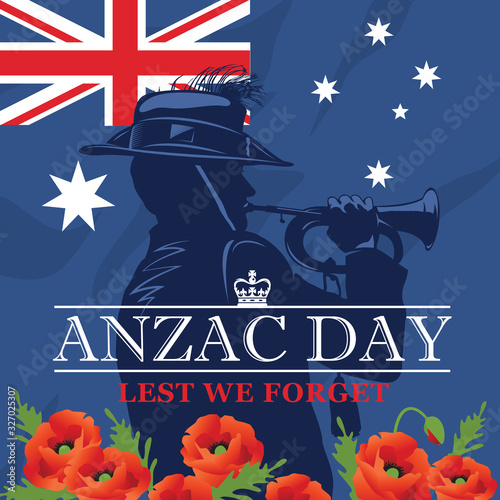 Silhouette of a trumpet soldier on the background of the Australian flag and red poppies Wallpaper Mural