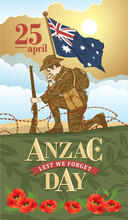 Anzac Day. Soldier Mourns The Fallen Comrades. Lest We Forget