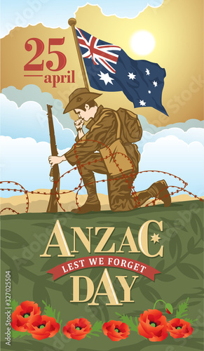 Anzac day. Soldier mourns the fallen comrades. Lest we forget Wall mural