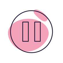 Isolated Music Pause Button Line Style Icon Vector Design