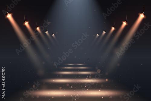 Obraz Show spotlights with glow effect on dark background - fototapety do salonu