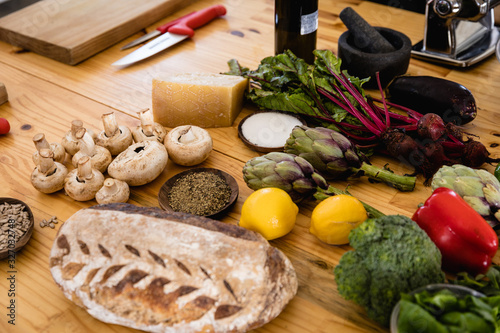 Vegetables and bread on the table