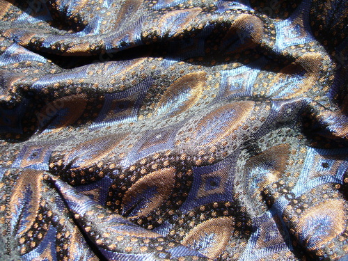 Blue fabric close-up. The texture of the fabric. Blended fabric. Canvas Print