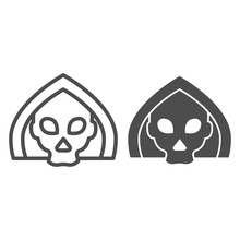 Death Line And Solid Icon. Gri...