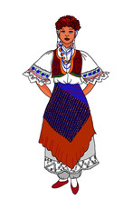 Traditional Woman Standing And...