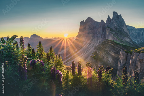 Beautiful view on Seceda peak Fototapet