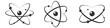 Atom icon in flat design. Set gray molecule symbol or atom symbol isolated. Vector illustration
