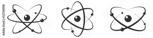 Atom icon in flat design. Set gray molecule symbol or atom symbol isolated. Vector illustration