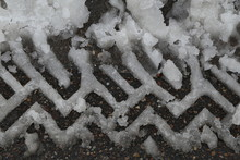 Pattern Of Wet Snow Left By The Tread Of The Car
