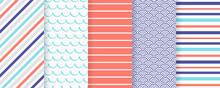 Marine Seamless Pattern. Vecto...