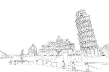 Baptistery In Pisa. Pisa Cathedral.  Leaning Tower Of Pisa. Pisa. Italy. Hand Drawn Sketch. Vector Illustration.