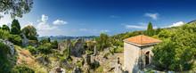 Sunny Panoramic View Of Ruins ...