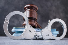 Law Gavel With Handcuff And Ba...