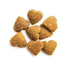 Dried Kibble Pet Food. Heart Shape Dried Animal Food.