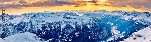 Fotografie, Tablou Beautiful panoramic view to the Sellaronda - the largest ski carousel in Europe