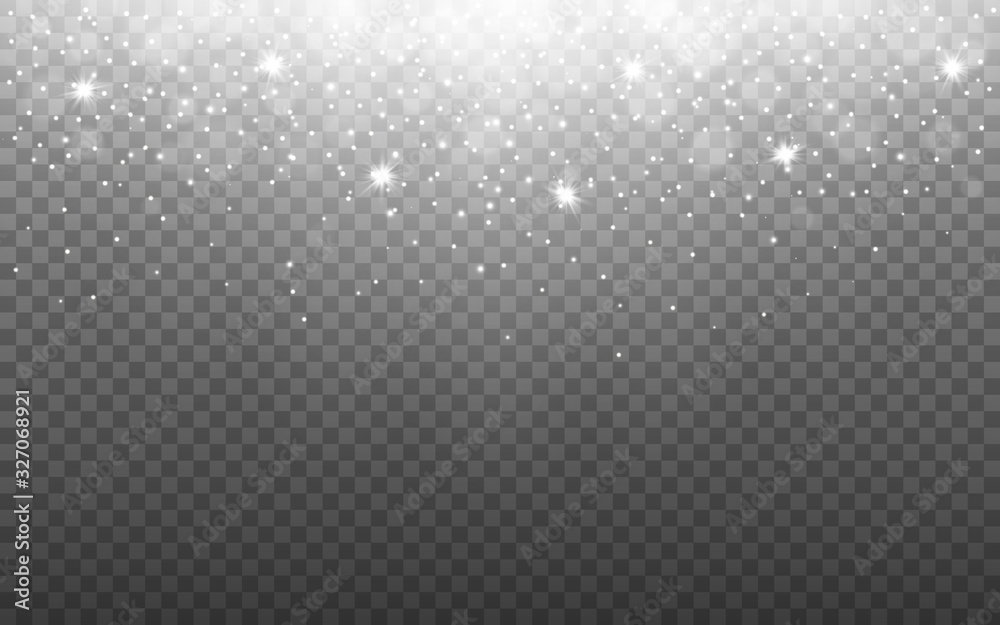 Fototapeta Glowing light with snow flakes on transparent backdrop. Silver glitter effect with rays. Shining particles and bokeh. Banner template with sparks. Vector illustration