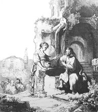 Picture Of Samarithan Woman Talking To Jesus Near The Well In The Old Book Des Peintres, By C. Blanc, 1863, Paris