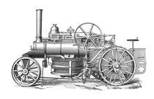 Locomotive Of The One-machine System In The Old Book Meyers Lexicon, Vol. 4, 1897, Leipzig
