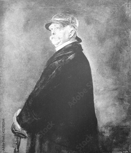 Canvastavla Portrait of german statesman Otto Eduard Leopold, Prince of Bismarck in the old