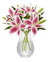 Bouquet Of Stargazer Lilies In Glass Vase