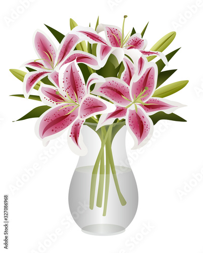 Slika na platnu Bouquet of Stargazer Lilies in Glass Vase