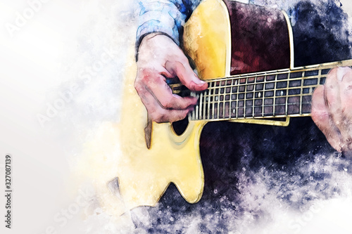 Fototapeta Close up abstract beautiful man playing acoustic guitar on walking street on watercolor illustration painting background