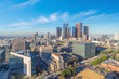 Beautiful sunset of Los Angeles downtown skyline in CA