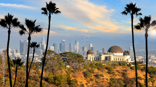 The Griffith Observatory and Los Angeles city skyline Canvas Print