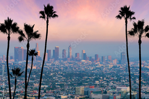 Fényképezés Beautiful sunset of Los Angeles downtown skyline