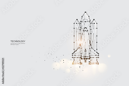 Fotografia The particles, geometric art, line and dot of Space Shuttle.