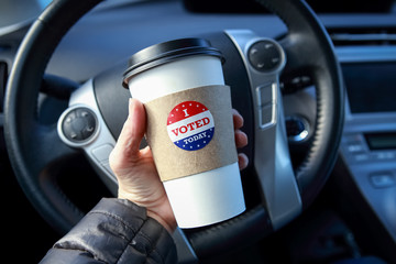 I voted today sticker on a hot drink cup free giveaway promotion