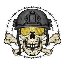 Skull In Black Helmet. T-shirt...