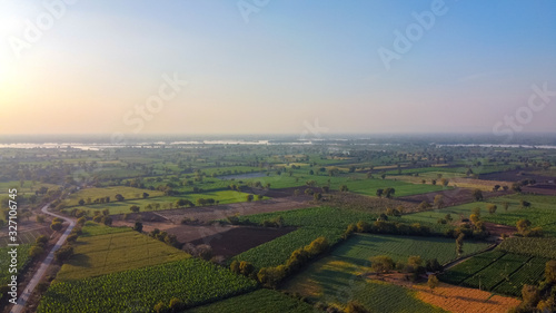 Photo Ariel top view of agriculture field