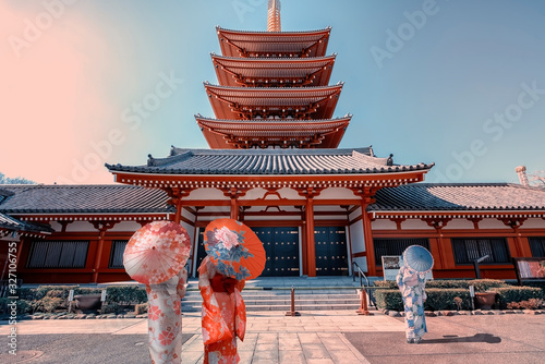 Ladies with traditional dress in Senso-ji temple in Asakusa, Tokyo Canvas Print