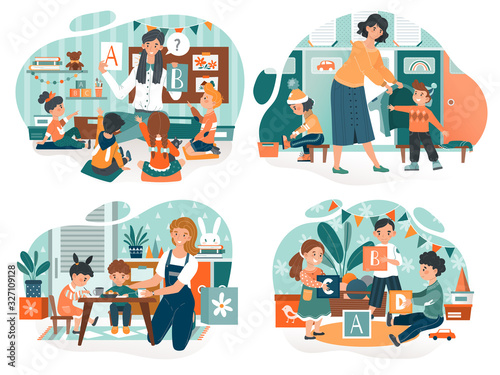 Kindergarten teacher with children, babysitter with kids, vector illustration. Woman teaching children to read and dressing them for walk. People cartoon characters, preschool education for kids