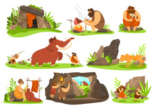 Primitive People In Stone Age, Caveman Life, Vector Illustration. Set Of Isolated Cartoon Characters, Cave People Hunting Mammoth. Stone Age Man Cooking Meat, Woman Making Clothes, Children Playing