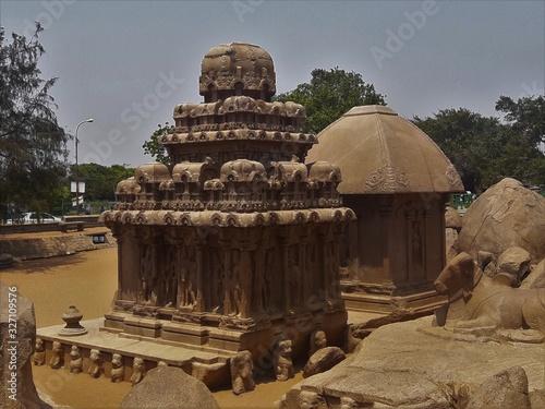 Fotografie, Obraz famous temples and sculptures at Mahabalipuram India
