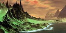 Alien Planet. Mountain And Lak...